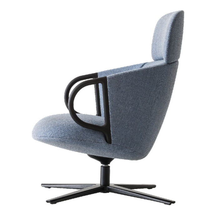 side view of swivel lounge armchair