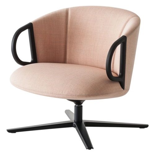 lower back lounge armchair with swivel mechanism