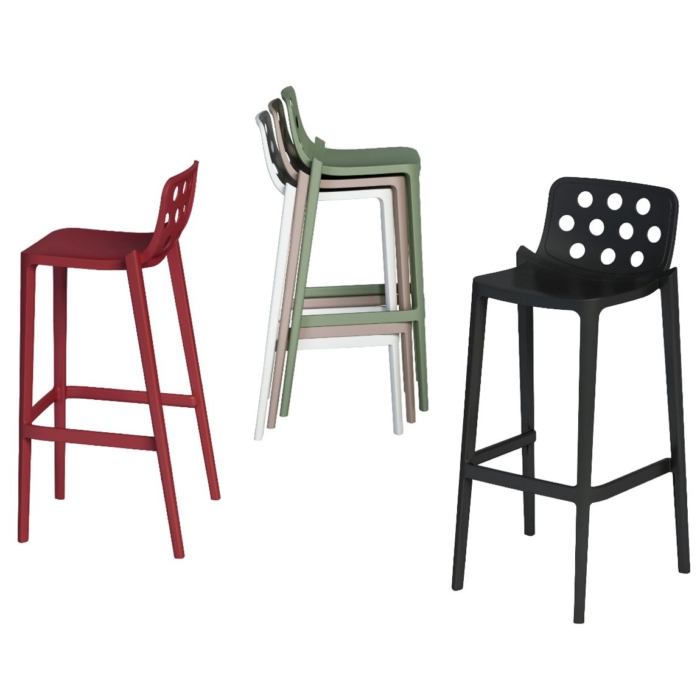 group shot of the isidoro bar stool also showing how it stacks
