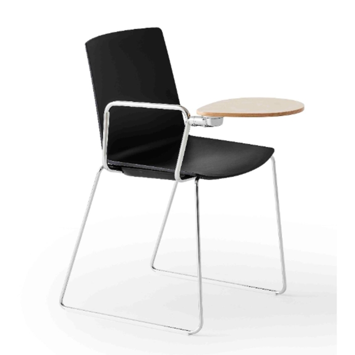jubel armchair with metal sled base and folding table
