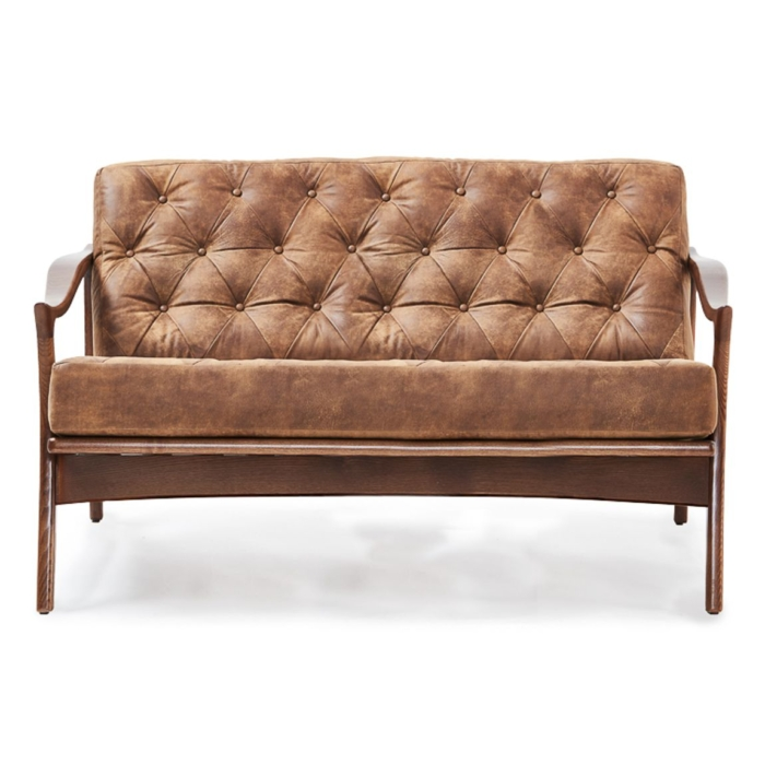 retro style sofa with wooden frame and buttoned inner back