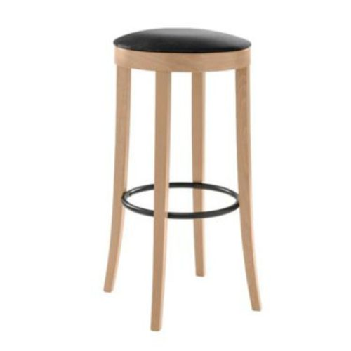 circular bar stool with upholstered seat and metal footrest