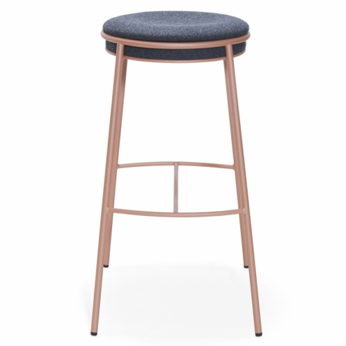 main view of eman stool with upholstered seat and metal legs