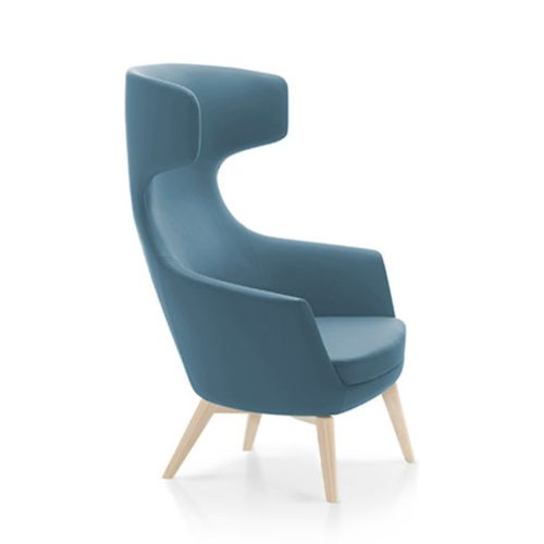 megan highback lounge armchair with wooden legs suitable for hotels, bars and restaurants