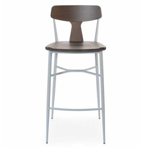 Main view of the Naika 2 bar stool with wooden seat and back rest