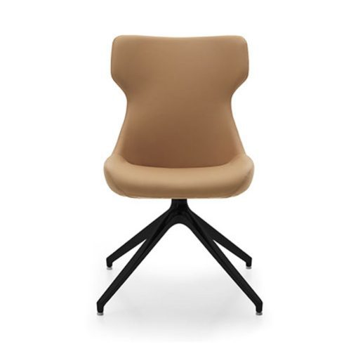 FRONT VIEW OF NELL CHAIR WITH BLACK POWDER COATED 4 LEG BASE