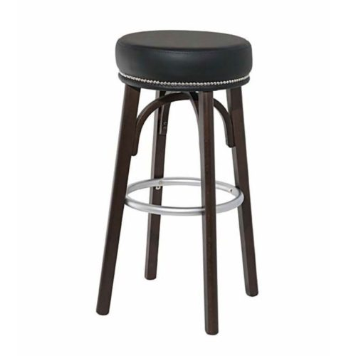 round seat bar stool with wooden legs and chrome or brass footrest