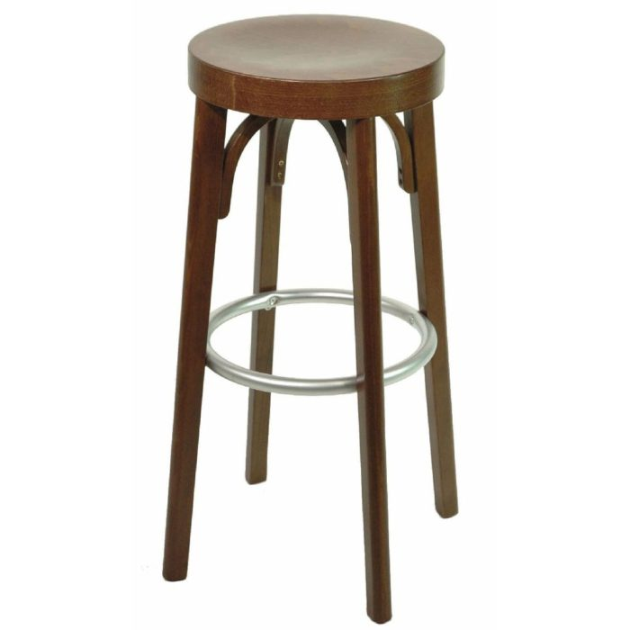 bar stool with wooden seat and no back rest