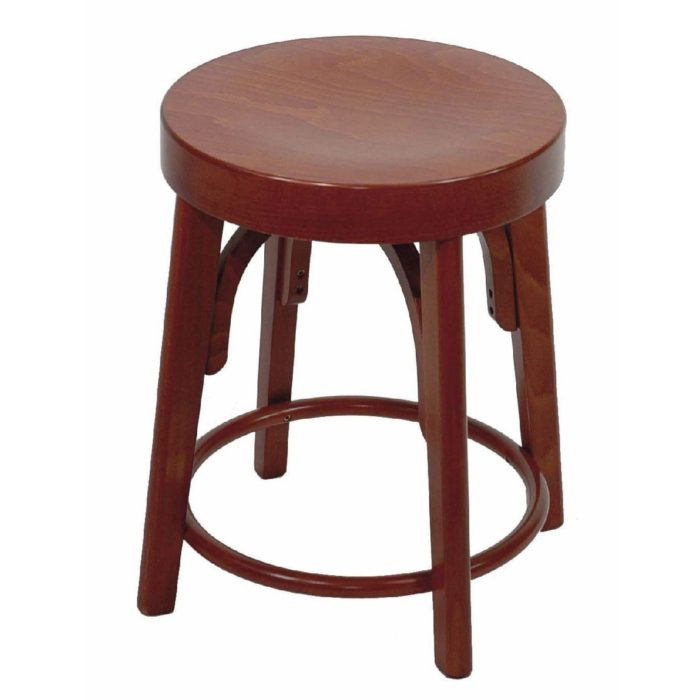 low stool with wooden seat
