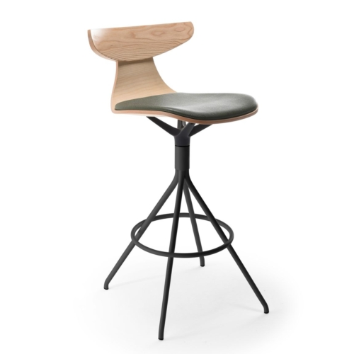 MAIN VIEW OF ROMY BAR STOOL WITH METAL BASE, UPHOLSTERED SEAT AND WOODEN BACK REST