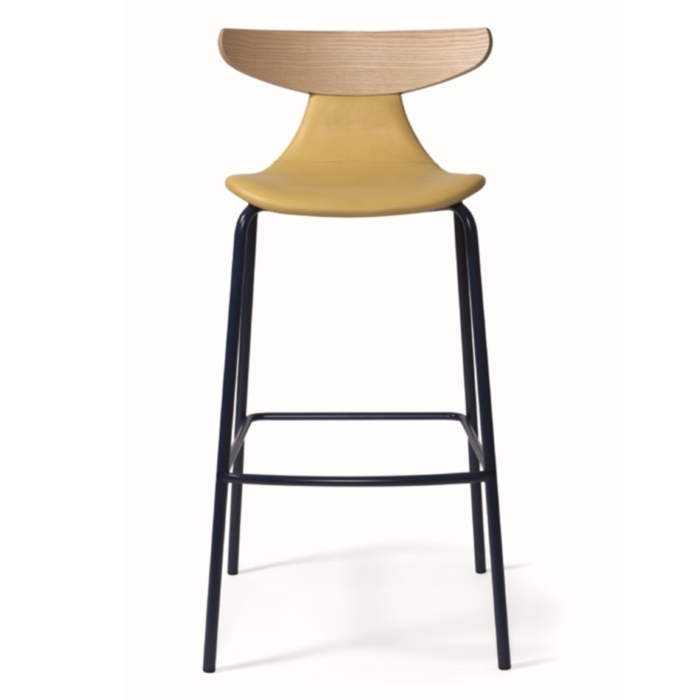 romy bar stool with upholstered seat and lower back rest