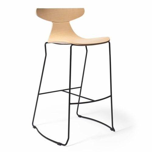 ROMY BAR STOOL WOODEN SHELL AND METAL SLED BASE