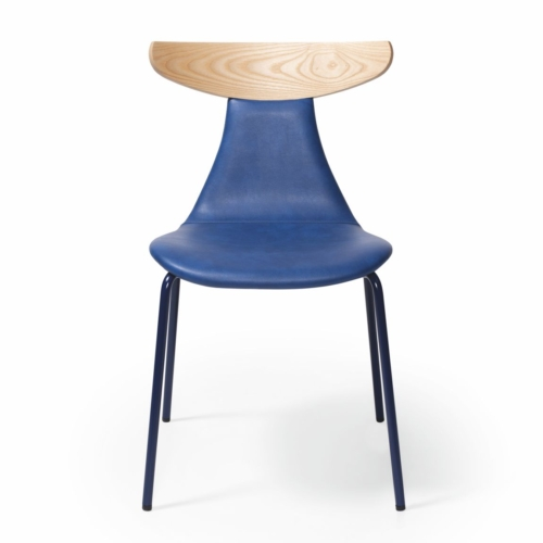 romy chair with upholstered seat and lower back, wooden top of back rest
