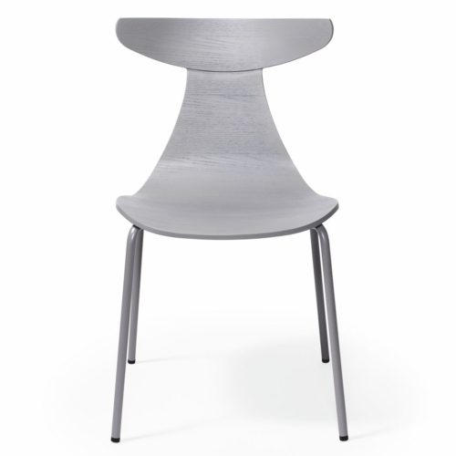 romy chair with a wooden shell and metal legs