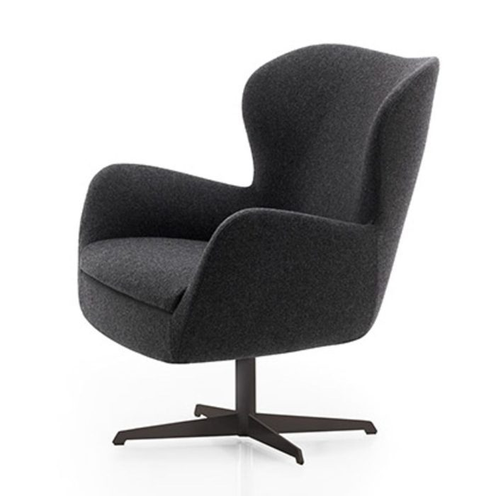 lounge armchair with a swivel black powder coated metal base