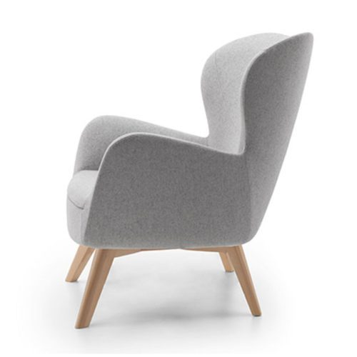 sixty lounge armchair with wooden legs