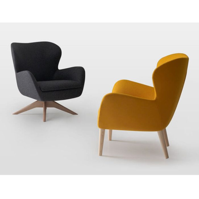 sixty lounge armchair showing various wooden base options
