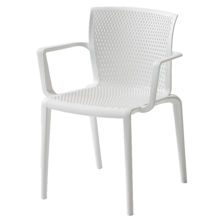 front view of spyker armchair in a white finish